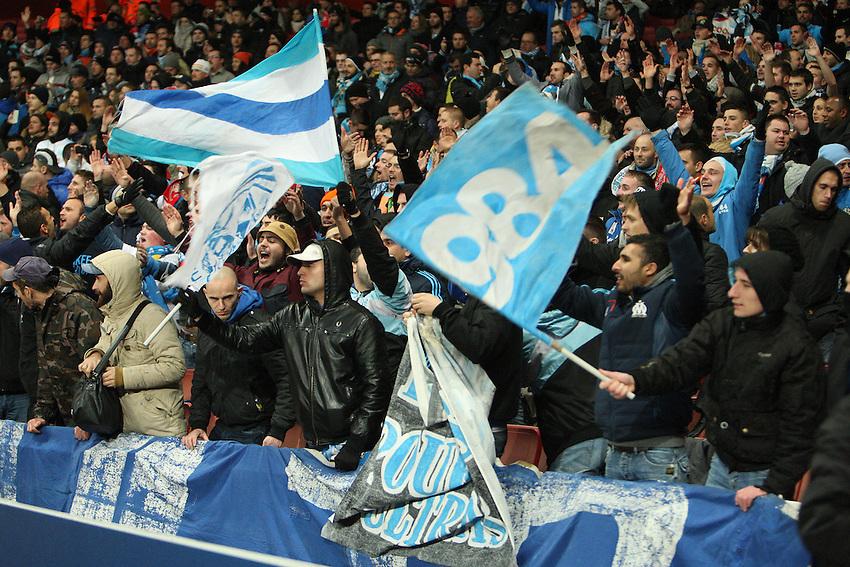 Marseille's Fan<br /> Photo by Kieran Galvin/CameraSport<br /> <br /> Football - UEFA Champions League Group F - Arsenal v Marseille - Tuesday 26th November 2013 - The Emirates Stadium - London<br /> <br /> &copy; CameraSport - 43 Linden Ave. Countesthorpe. Leicester. England. LE8 5PG - Tel: +44 (0) 116 277 4147 - admin@camerasport.com - www.camerasport.com