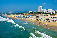 Santa Monica, CA, Crowded Beach, Summer, Ocean Waves, activities
