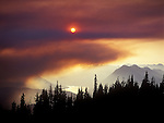 6 x 4.5 cm transparency<br /> Smoke from Round Mountain Fire.  Lake Wenatchee in background.  Dirtyface Peak on right.