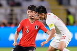 Son Heungmin of South Korea (L) is tackled by Zheng Zhi of China (R) during the AFC Asian Cup UAE 2019 Group C match between South Korea (KOR) and China (CHN)  at Al Nahyan Stadium on 16 January 2019 in Abu Dhabi, United Arab Emirates. Photo by Marcio Rodrigo Machado / Power Sport Images