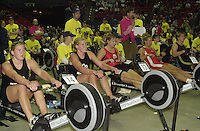 &copy; 2001 Peter Spurrier Sports  Photo.email pictures@rowingpics.com.Tel 44 (0) 7973 819 551.&copy; Peter Spurrier.18-11-2001.PPP Healthcare - British Indoor Rowing Championship.The National Indoor Arena.Left to right - Georgina &amp; Caroline Evers-Swindell, Hurnet Dekkers, Sara Lauritzen and Kate Grainger, [Mandatory Credit: Peter SPURRIER/Intersport Images]<br />