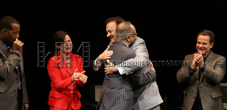 Courtney B. Vance, director George C. Wolfe, Maura Tierney, an emotional Tom Hanks, Peter Scolari & Cast   during the Broadway Opening Night Performance Curtain Call for  'Lucky Guy' at the Broadhurst Theatre in New York City on 4/01/2013