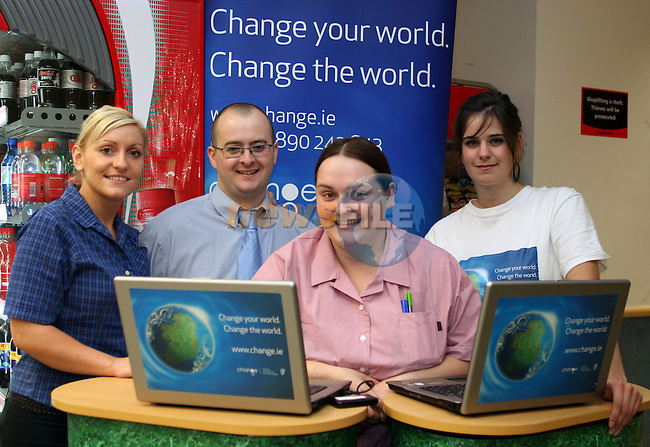 Breda Bergin, Eamonn Petticrew, Michelle Hillen, Energy Champion and Odessa Stafford at the Climate Change Campaign in Tesco, Dundalk...Photo NEWSFILE/Jenny Matthews.(Photo credit should read Jenny Matthews/NEWSFILE)....This Picture has been sent you under the condtions enclosed by:.Newsfile Ltd..The Studio,.Millmount Abbey,.Drogheda,.Co Meath..Ireland..Tel: +353(0)41-9871240.Fax: +353(0)41-9871260.GSM: +353(0)86-2500958.email: pictures@newsfile.ie.www.newsfile.ie.FTP: 193.120.102.198.