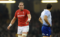 Wales' Alun Wyn Jones has words with Referee Mathieu Raynal<br /> <br /> Photographer Ian Cook/CameraSport<br /> <br /> Under Armour Series Autumn Internationals - Wales v Scotland - Saturday 3rd November 2018 - Principality Stadium - Cardiff<br /> <br /> World Copyright &copy; 2018 CameraSport. All rights reserved. 43 Linden Ave. Countesthorpe. Leicester. England. LE8 5PG - Tel: +44 (0) 116 277 4147 - admin@camerasport.com - www.camerasport.com