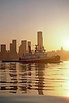 Seattle, tugboat, Shelly Foss, Foss Maritime, sunrise, Seattle skyline circe 2000, Port of Seattle, .