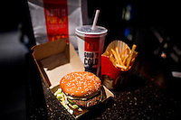 A Mc Donald's in seen in a restaurant in Times Square, Mc Donald's Management discusses Q4 2011 results in New York, United States. 23/01/2012.  Photo by Eduardo Munoz Alvarez / VIEWpress.