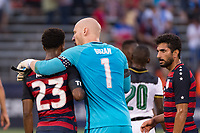 East Hartford, CT - Saturday July 01, 2017: Kellyn Acosta, Brad Guzan during an international friendly match between the men's national teams of the United States (USA) and Ghana (GHA) at Pratt & Whitney Stadium at Rentschler Field.