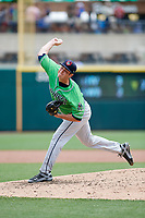 Gwinnett Stripers relief pitcher Luke Jackson (26) delivers a pitch during a game against the Columbus Clippers on May 17, 2018 at Huntington Park in Columbus, Ohio.  Gwinnett defeated Columbus 6-0.  (Mike Janes/Four Seam Images)