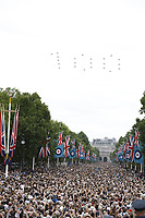 Tornado GR2<br /> RAF centenary fly-past at Buckingham Palace, The Mall, London England on July 10, 2018.<br /> CAP/PL<br /> &copy;Phil Loftus/Capital Pictures