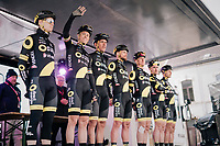 Team Direct Energie podium presentation at the start in Quaregnon. Niki Terpstra (NED/Direct Energie) greeting the crowd.<br /> <br /> 51th Le Samyn 2019 <br /> Quaregnon to Dour (BEL): 200km<br /> <br /> ©kramon