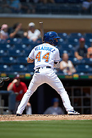 Andrew Velazquez (44) of the Durham Bulls at bat against the Columbus Clippers at Durham Bulls Athletic Park on June 1, 2019 in Durham, North Carolina. The Bulls defeated the Clippers 11-5 in game one of a doubleheader. (Brian Westerholt/Four Seam Images)