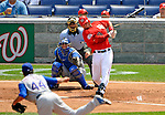 22 June 2008: Washington Nationals' catcher Jesus Flores at bat against the Texas Rangers at Nationals Park in Washington, DC. The Rangers defeated the Nationals 5-3 in the final game of their 3-game inter-league series...Mandatory Photo Credit: Ed Wolfstein Photo