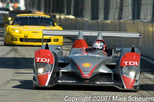 31 August 2007: The Audi Sport North America Audi R10 TDI driven by Dindo Capello (ITA) at the Detroit Sports Car Challenge presented by Bosch, Detroit, MI