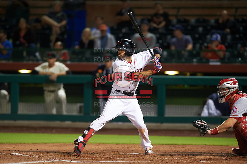 Scottsdale Scorpions second baseman Carlos Asuaje (3) at bat during an Arizona Fall League game against the Mesa Solar Sox on October 20, 2015 at Scottsdale Stadium in Scottsdale, Arizona.  Mesa defeated Scottsdale 5-4.  (Mike Janes/Four Seam Images)