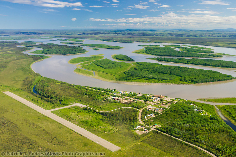 Road accessible town of Circle, Alaska, located along the Yukon river.