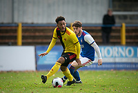 Lewis Gordon of Watford u23 & Zak Brown of Ipswich Town u23 during the Professional Development League match between Watford U23 and Ipswich Town U23 at Clarence Park, St Albans, England on 4 November 2019. Photo by Andy Rowland.