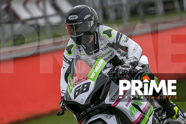 Tom Neave (68) of the BSB Muvuno.com Halsall Racing (Suzuki) race team during Free Practice 2 at Round 9 of the 2018 British Superbike Championship at Silverstone Circuit, Towcester, England on Friday 7 September 2018. Photo by David Horn.
