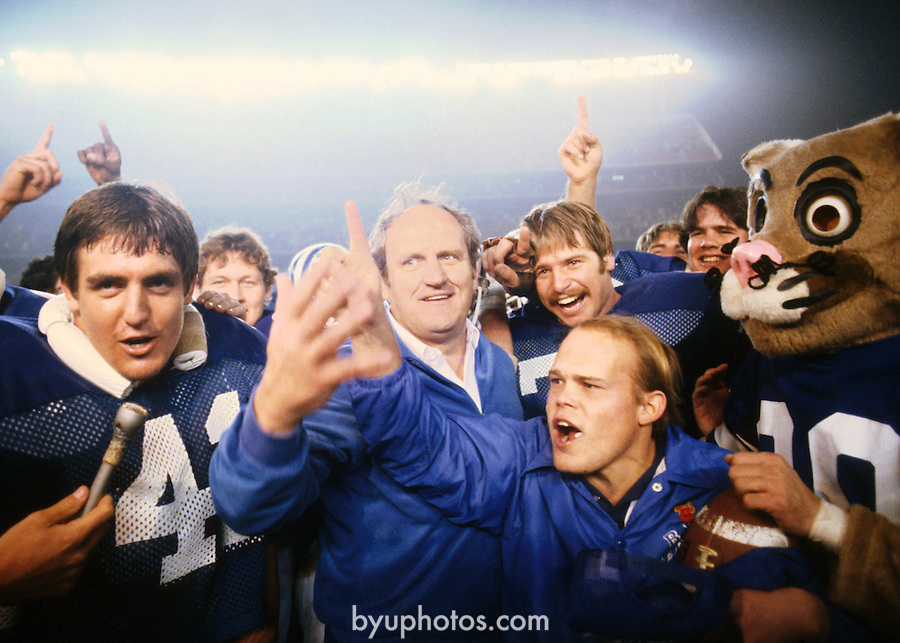 1980 Holiday Bowl<br /> <br /> Holiday Bowl vs SMU (Southern Methodist University). Coach  LaVell Edwards. 41 Glen Redd. Cosmo.<br /> <br /> Photo by Mark Philbrick/BYU<br /> <br /> Copyright BYU Photo 2006 <br /> All Rights Reserved <br /> photo@byu.edu  (801)422-7322