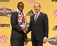 Jalil Anibaba with commissioner Don Garber at the 2011 MLS Superdraft, in Baltimore, Maryland on January 13, 2010.