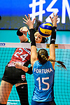 Aika Akutagawa of Japan (L) attacks during the FIVB Volleyball Nations League Hong Kong match between Japan and Argentina on May 31, 2018 in Hong Kong, Hong Kong. Photo by Marcio Rodrigo Machado / Power Sport Images