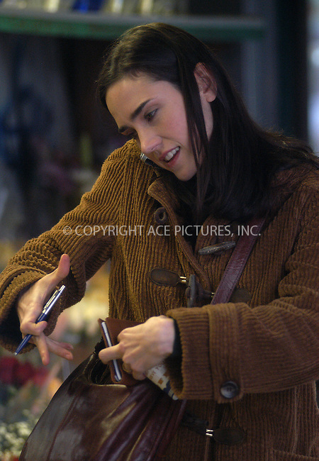 Actress Jennifer Connelly filming her new thriller, 'Dark Water,' on First Avenue at 18th Street in New York. March 25, 2004...Please byline: AJ SOKALNER/ACE Pictures.   ..*PAY-PER-USE*      ....IMPORTANT: Please note that our old trade name, NEW YORK PHOTO PRESS (NYPP), is replaced by new name, ACE PICTURES. New York Photo Press and ACE Pictures are owned by All Celebrity Entertainment, Inc.......All Celebrity Entertainment, Inc:  ..contact: Alecsey Boldeskul (646) 267-6913 ..Philip Vaughan (646) 769-0430..e-mail: info@nyphotopress.com