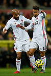 David McGoldrick and Callum Robinson of Sheffield United during the Premier League match at Carrow Road, Norwich. Picture date: 8th December 2019. Picture credit should read: James Wilson/Sportimage