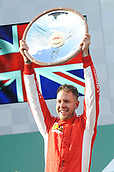 25th March 2018, Melbourne Grand Prix Circuit, Melbourne, Australia; Melbourne Formula One Grand Prix, race day; Sebastian Vettel (Germany) of Ferrari celebrates his 2018 Australian Grand Prix win with a trophy lify