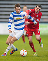 Morton's Scott Taggart holds off Raith's David Smith.