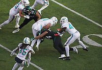 tight end Durham Smythe (81) of the Miami Dolphins wird gestoppt - 08.12.2019: New York Jets vs. Miami Dolphins, MetLife Stadium New York