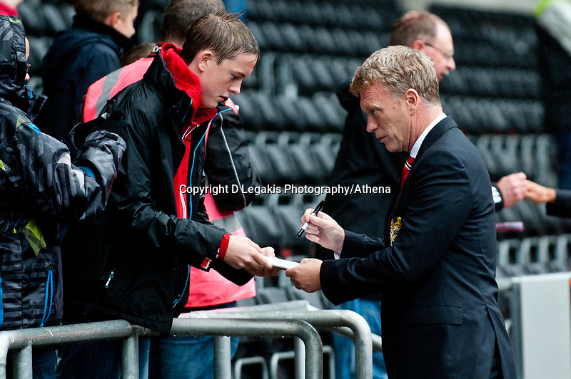 Saturday 17 August 2013<br /> <br /> Pictured: David Moyes, Manager of Manchester United<br /> <br /> Re: Barclays Premier League Swansea City v Manchester United at the Liberty Stadium, Swansea, Wales