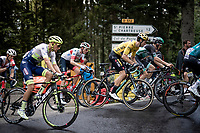 yellow jersey / GC leader Wout van Aert (BEL/Jumbo - Visma) up the Col de Porte (final climb to the finish) in the grupetto<br /> <br /> Stage 2: Vienne to Col de Porte (135km)<br /> 72st Critérium du Dauphiné 2020 (2.UWT)<br /> <br /> ©kramon