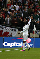 Pictured: Nathan Dyer of Swansea celebrating his goal. Sunday 24 February 2013<br /> Re: Capital One Cup football final, Swansea v Bradford at the Wembley Stadium in London.