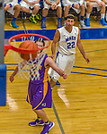 22 November 2015: Yeshiva University Maccabee Guard Judah Cohen, a Freshman from Englewood, NJ, watches his 3-pointer swish during the second half of play against the Hunter College Hawks at the Max Stern Athletic Center  in New York, NY. The Maccabees defeated the Hawks 81-71 in non-conference play, for their second win of the season. Mandatory Credit: Ed Wolfstein Photo *** RAW (NEF) Image File Available ***