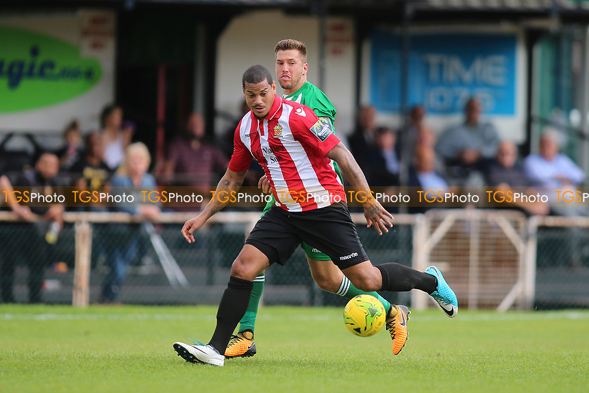 Leon McKenzie of Hornchurch and Lewis Endacott of Soham during AFC Hornchurch vs Soham Town Rangers, Bostik League Division 1 North Football at Hornchurch Stadium on 12th August 2017