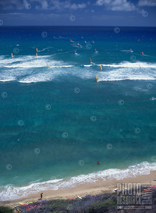 Sailboarding at Diamond Head beach, Oahu, Hawaii