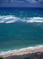 Sailboarding at Diamond Head beach, Oahu, Hawaii