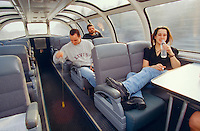 Passengers killing time in the dome car of the Canadian.