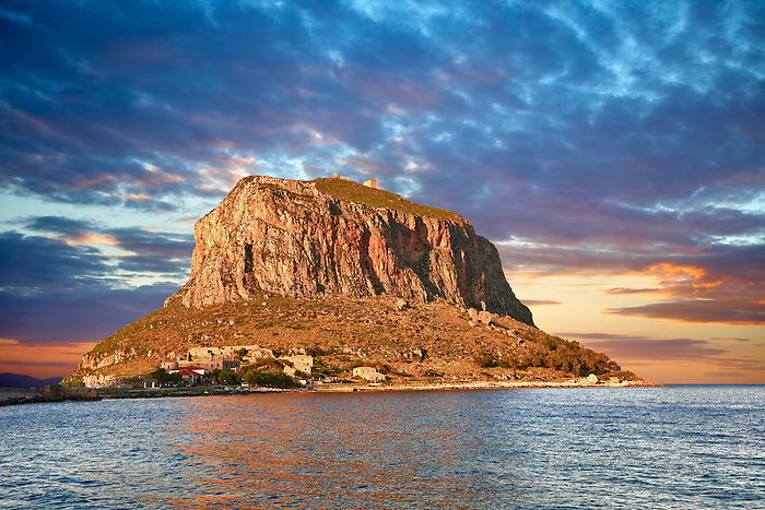 Monemvasia (  ) Byzantine Island castle town with acropolis on the plateau.   Peloponnese, Greece