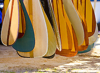 Outrigger canoe teams store their paddles until race time.  This bunch is from a race at Keehi Lagon on Oahu.