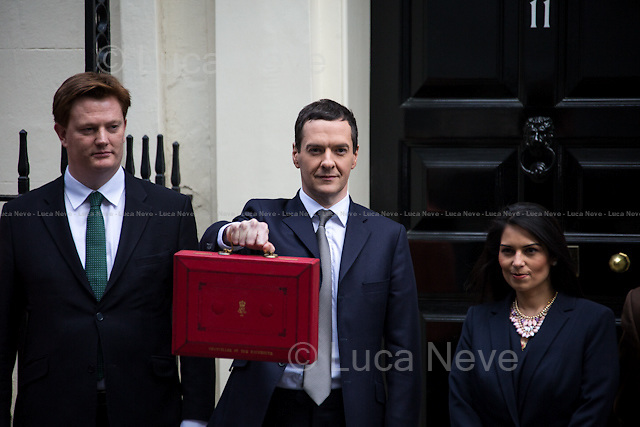 (From R to L) George Osborne &amp; Daniel Alexander (Liberal Democrat party, Chief Secretary to the Treasury).<br />