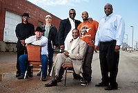 Men exonerated for crimes they did not commit include, top row, left to right, Thomas McGowen (cq), Steven Phillips (cq), Christopher Scott (cq), Patrick Waller (cq), Claude Simmons Jr. (cq) and bottom row, left to right, Stephen Brodie (cq),  Johnnie Lindsey (cq)  during a group portrait in Dallas, Texas, Thursday, February 24, 2011. North Texas is home to the largest number of exonerees  in the United States due in large part to the support of District Attorney Craig Watkins (cq).