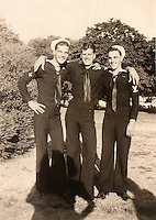 C.B. Miller, James 'Jim' Newlands, and Walter Gingrow - Falmouth, MA - CASU 26 NAAF at Camp Edwards, MA - Otis Field - Sept. or Oct. 1944  -- Photo By Wade Litzinger