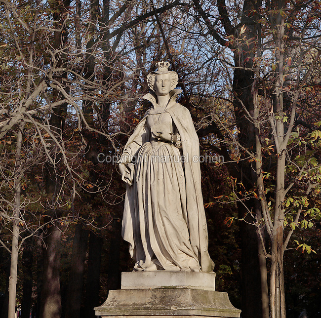 Mary Stuart (1542-87), Queen of Scotland 1542-67, Queen Consort of France 1559-60, statue, 1846, by Jean Jacques Feuchere (1807-52), Luxembourg Gardens, Paris, France. Photograph by Manuel Cohen.