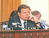 United States Representative Dan Rostenkowski (Democrat of Illinois), Chairman, U.S. House Ways and Means Committee, listens to testimony during a hearing on the Tax Reform Bill on Thursday, July 17, 1986.  Rostenkowski died of cancer at his summer home in Genoa City, Wisconsin on Wednesday, August 11, 2010. .Credit: Arnie Sachs / CNP
