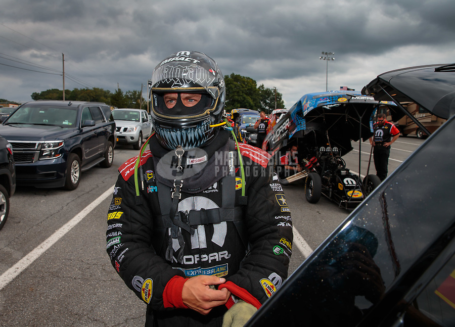 Sep 15, 2018; Mohnton, PA, USA; NHRA funny car driver Matt Hagan during qualifying for the Dodge Nationals at Maple Grove Raceway. Mandatory Credit: Mark J. Rebilas-USA TODAY Sports