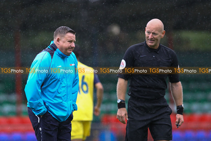 Hampton & Richmond borough manger Gary McCann and Referee Steven Hughes during Hampton & Richmond Borough vs AFC Hornchurch, Emirates FA Cup Football at the Beveree Stadium on 6th October 2018
