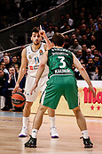 22nd March 2018, Wizink Centre, Madrid, Spain; Turkish Airlines Euroleague Basketball, Real Madrid versus Zalgiris Kaunas; Facundo Campazzo (Real Madrid Baloncesto) brings the ball foward against Kevin Pangos (Zalgiris Kaunas)