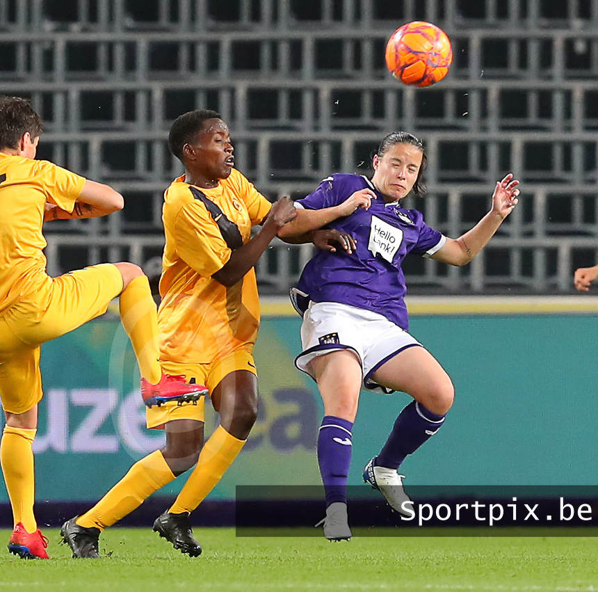 20190912 - Anderlecht , BELGIUM : Anderlecht's  Stefania Vatafu (10) and BIIK-Kazygurt's Rachel Kundananji (14) are pictured during the female soccer game between the Belgian Royal Sporting Club Anderlecht Dames  and BIIK Kazygurt from Shymkent in Kazachstan, this is the first leg in the round of 32 of the UEFA Women's Champions League season 2019-20120, Thursday 12 th September 2019 at the Lotto Park in Anderlecht , Belgium. PHOTO SPORTPIX.BE   SEVIL OKTEM