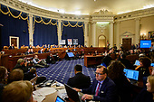 """Wide view of the hearing room as Marie """"Masha"""" Yovanovitch, former United States Ambassador to Kyiv, Ukraine, on behalf of the US Department of State, testifies during the US House Permanent Select Committee on Intelligence public hearing as they investigate the impeachment of US President Donald J. Trump on Capitol Hill in Washington, DC on Friday, November 15, 2019.<br /> Credit: Ron Sachs / CNP<br /> (RESTRICTION: NO New York or New Jersey Newspapers or newspapers within a 75 mile radius of New York City)"""