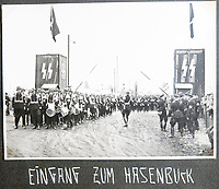 BNPS.co.uk (01202 558833)<br /> Pic: Jones&Jacob/BNPS<br /> <br /> LSSAH band at Hasenbuck station, Nuremberg.<br /> <br /> Springtime for Hitler...Chilling album of pictures taken by one of Hitlers bodyguards illustrates the Nazi dictators rise to power.<br /> <br /> An unseen album of photographs taken by a member of Hitlers own elite SS bodyguard division in the years leading up to the start of WW2.<br /> <br /> The 1st SS Panzer Division 'Leibstandarte SS Adolf Hitler' or LSSAH began as Adolf Hitler's personal bodyguard in the 1920's responsible for guarding the Führer's 'person, offices, and residences'.